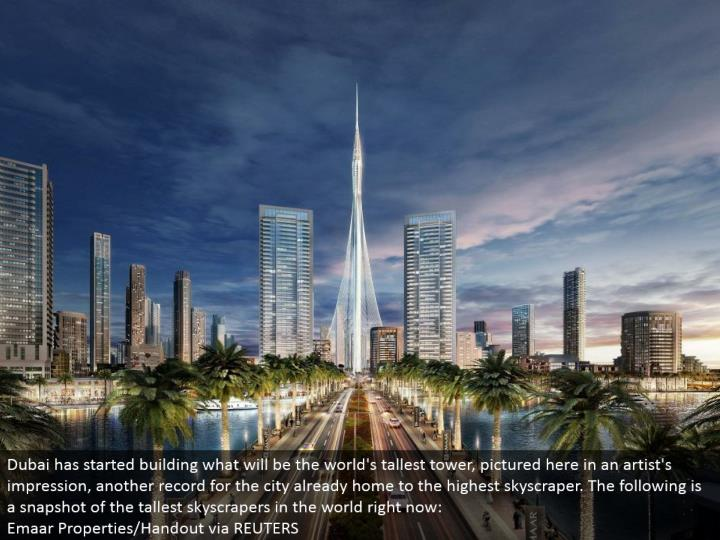 Dubai has begun building what will be the world's tallest tower, envisioned here in a craftsman's im...