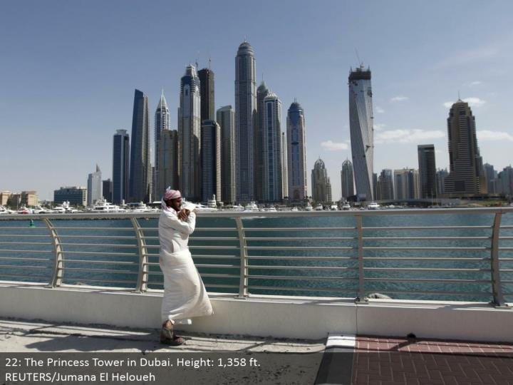 22: The Princess Tower in Dubai. Stature: 1,358 ft. REUTERS/Jumana El Heloueh