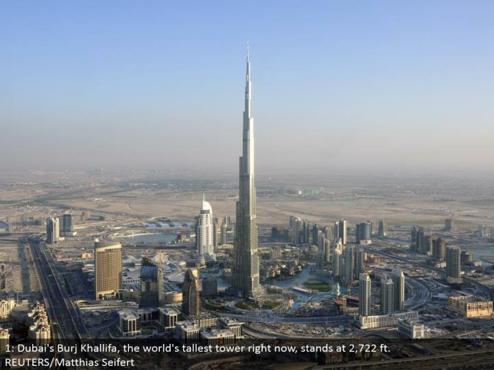 1: Dubai's Burj Khallifa, the world's tallest tower at this moment, remains at 2,722 ft. REUTERS/Matthias Seifert