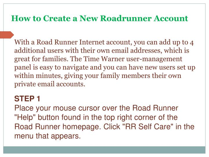 How to Create a New Roadrunner Account