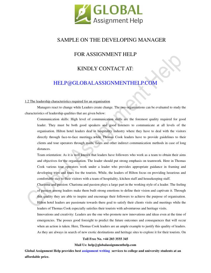 SAMPLE ON THE DEVELOPING MANAGER
