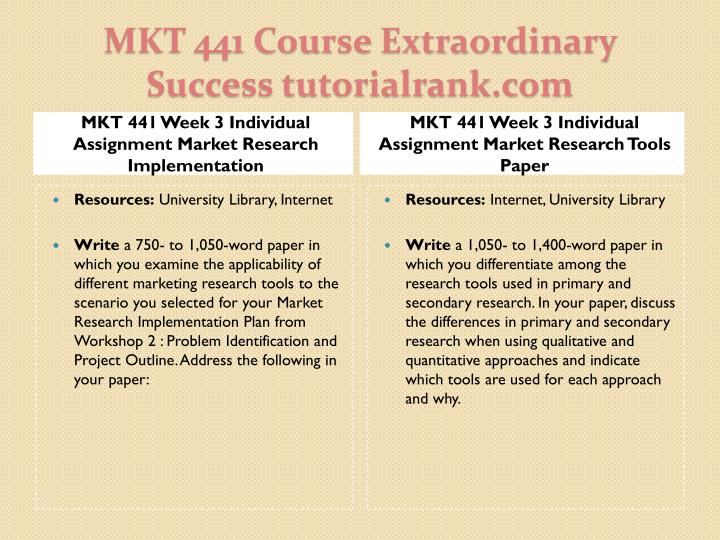 MKT 441 Week 3 Individual Assignment Market Research Implementation