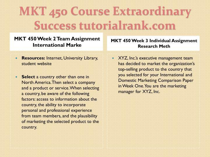 MKT 450 Week 2 Team Assignment International Marke