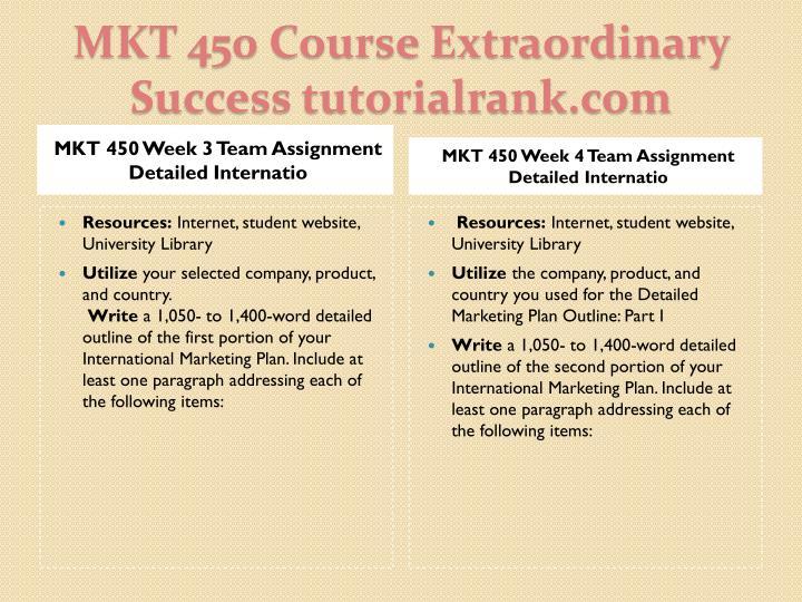 MKT 450 Week 3 Team Assignment Detailed Internatio