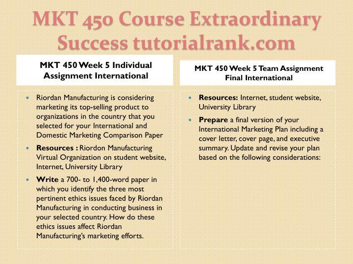 MKT 450 Week 5 Individual Assignment International