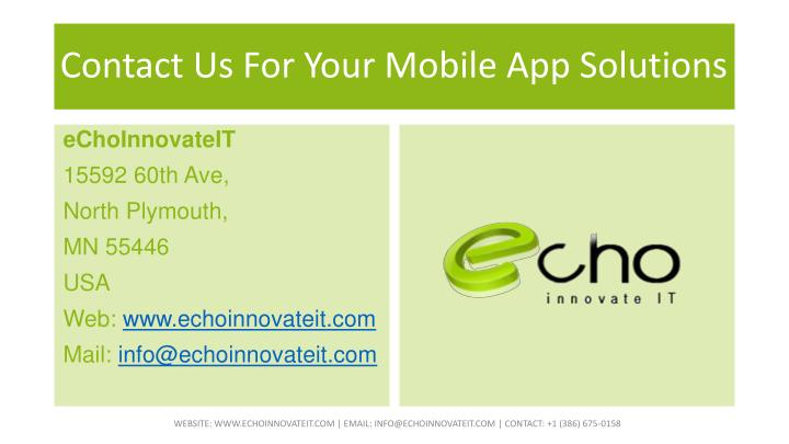Contact Us For Your Mobile App Solutions