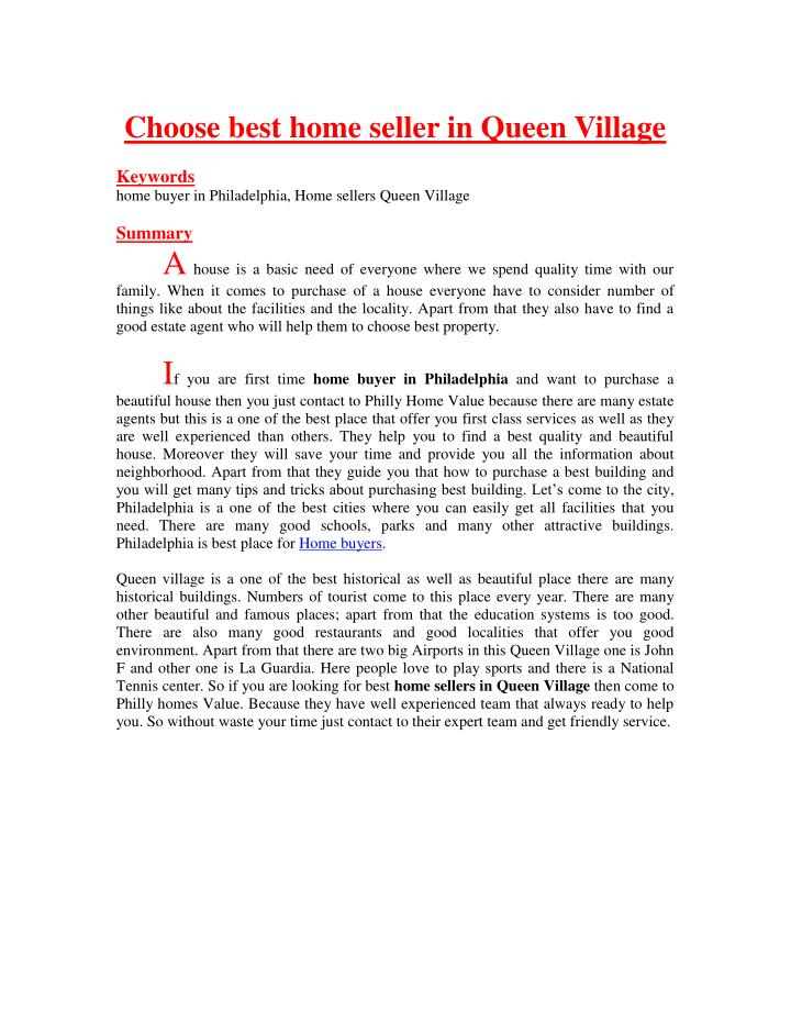 Choose best home seller in Queen Village