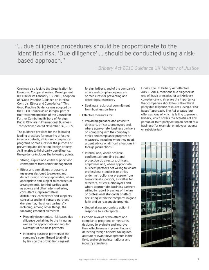 """… due diligence procedures should be proportionate to the"