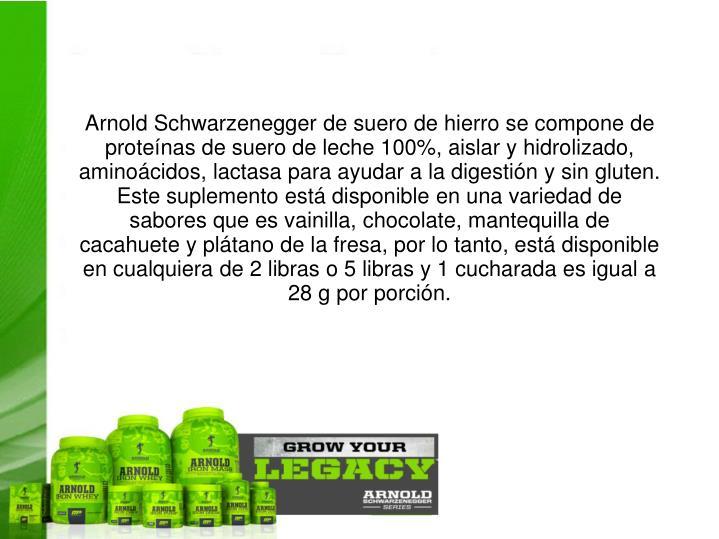 Arnold Schwarzenegger de suero de hierro se compone de proteínas de suero de leche 100%, aislar y hidrolizado, aminoácidos, lactasa para ayudar a la digestión y sin gluten. Este suplemento está disponible en una variedad de sabores que es vainilla, chocolate, mantequilla de cacahuete y plátano de la fresa, por lo tanto, está disponible en cualquiera de 2 libras o 5 libras y 1 cucharada es igual a 28 g por porción.