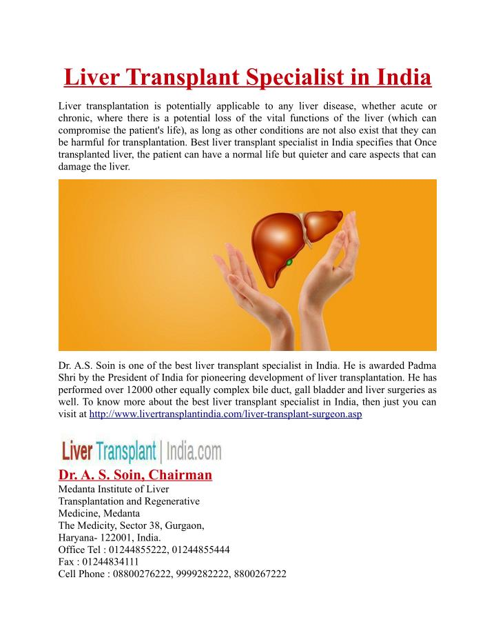 Liver Transplant Specialist in India