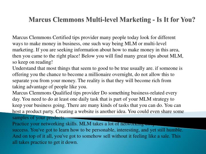 Marcus clemmons multi level marketing is it for you
