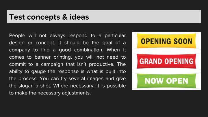 Test concepts & ideas