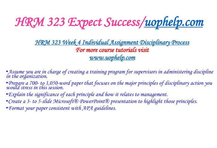 HRM 323 Expect Success/