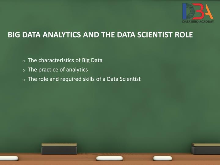 Big data analytics and the data scientist role