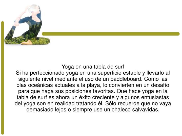 Yoga en una tabla de surf