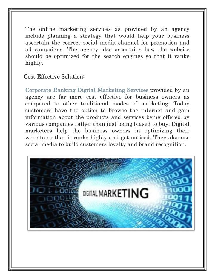 The online marketing services as provided by an agency