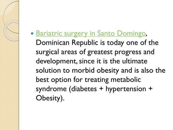Bariatric surgery in Santo Domingo