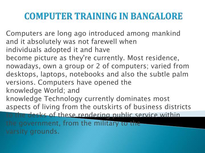 COMPUTER TRAINING IN BANGALORE