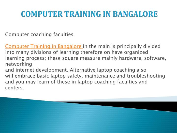 COMPUTER TRAINING IN BANGALORE