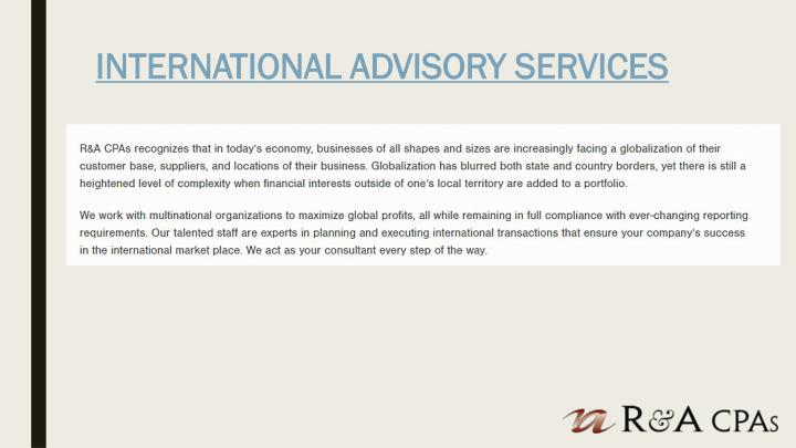 INTERNATIONAL ADVISORY