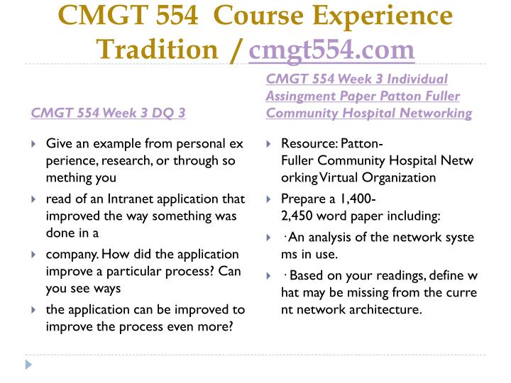 CMGT 554  Course