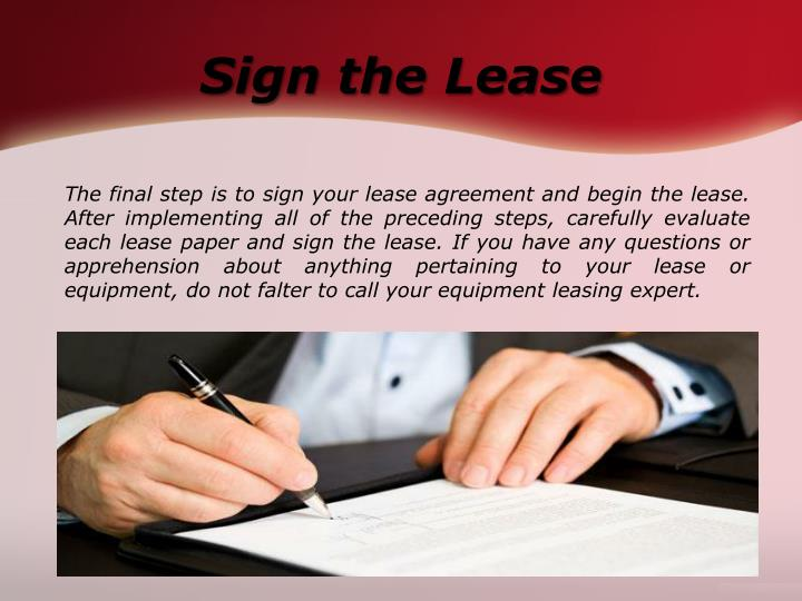 Sign the Lease