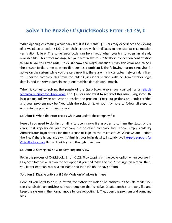 Solve The Puzzle Of QuickBooks Error -6129, 0