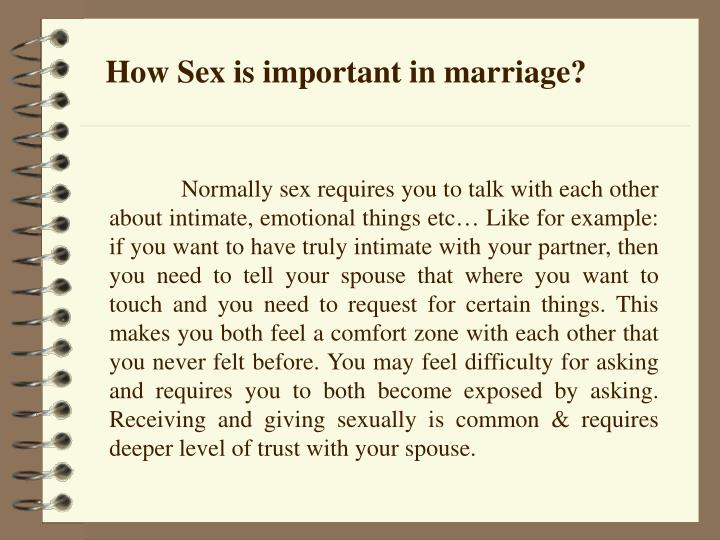 How Sex is important in marriage?