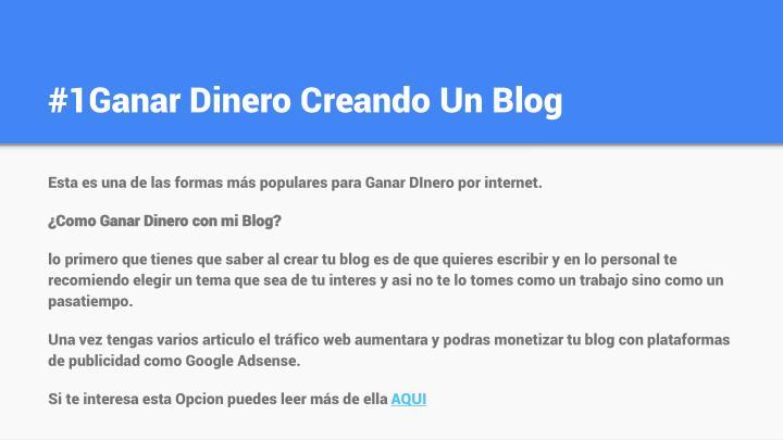 #1Ganar Dinero Creando Un Blog