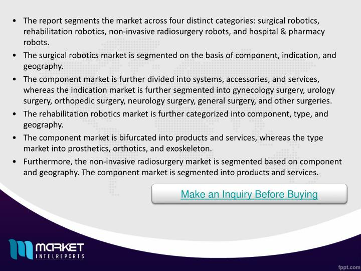 The report segments the market across four distinct categories: surgical robotics, rehabilitation robotics, non-invasive radiosurgery robots, and hospital & pharmacy robots.