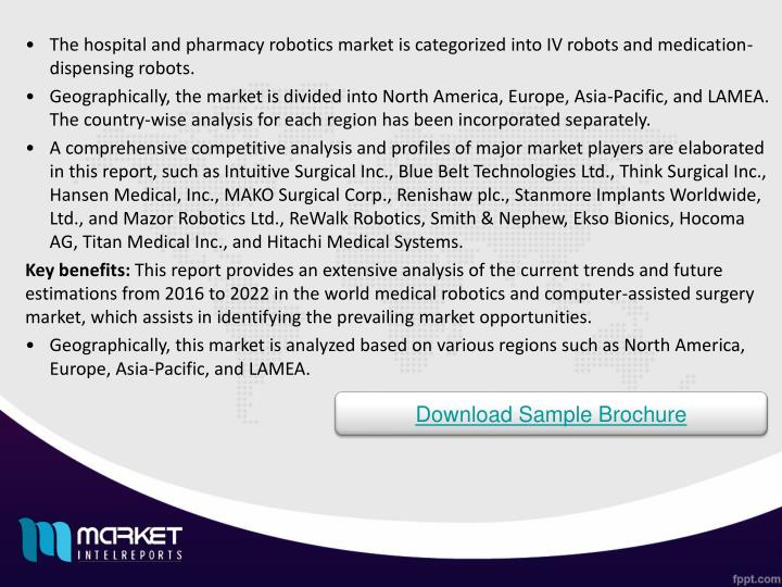 The hospital and pharmacy robotics market is categorized into IV robots and medication-dispensing robots.