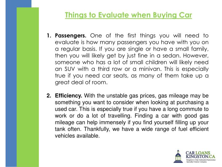 Things to Evaluate when Buying Car