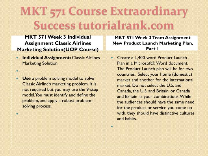 MKT 571 Week 3 Individual Assignment Classic Airlines Marketing Solution(UOP Course)