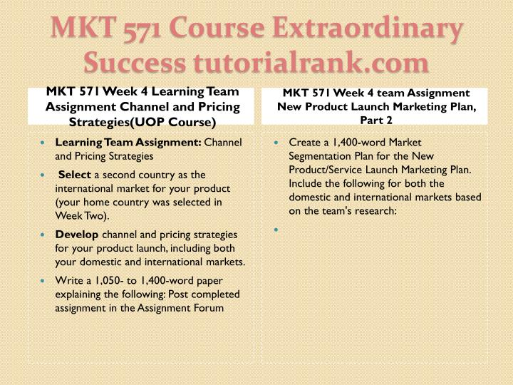 MKT 571 Week 4 Learning Team Assignment Channel and Pricing Strategies(UOP Course)