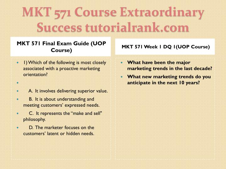 MKT 571 Final Exam Guide (UOP Course)