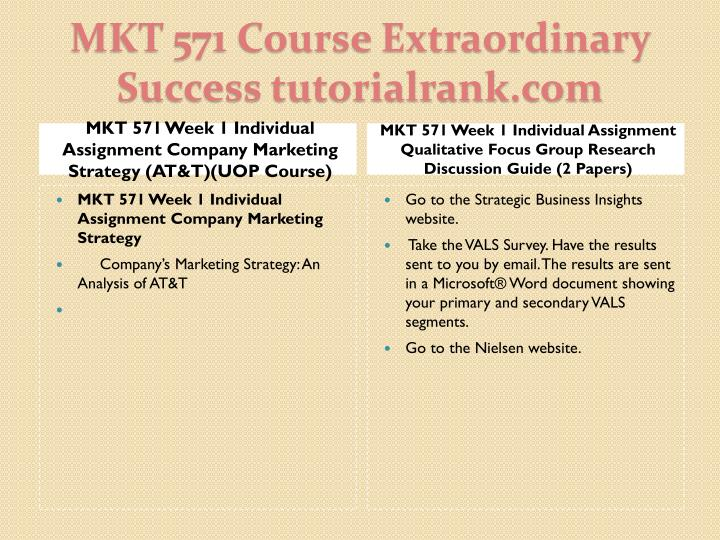 MKT 571 Week 1 Individual Assignment Company Marketing Strategy (AT&T)(UOP Course)