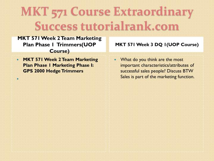 MKT 571 Week 2 Team Marketing Plan Phase 1  Trimmers(UOP Course)