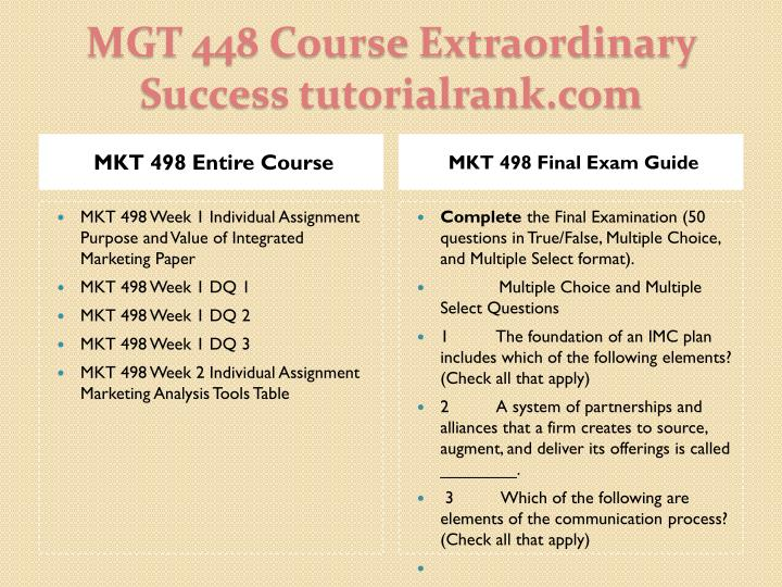 MKT 498 Entire Course