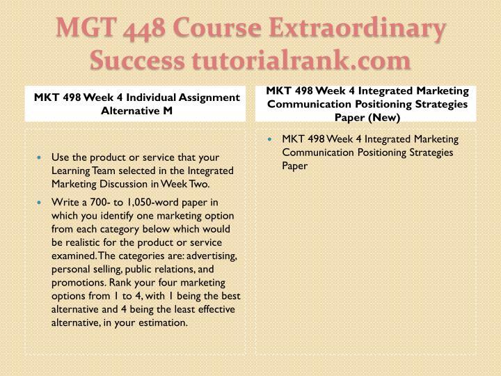 MKT 498 Week 4 Individual Assignment Alternative M