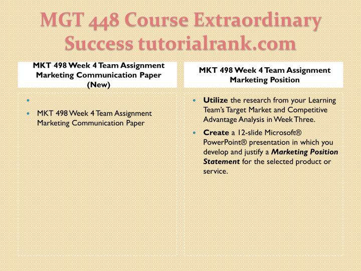MKT 498 Week 4 Team Assignment Marketing Communication Paper (New)