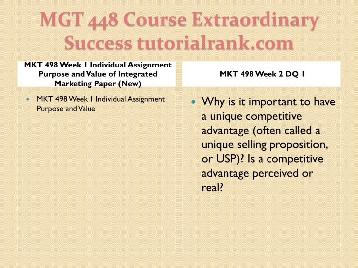 MKT 498 Week 1 Individual Assignment Purpose and Value of Integrated Marketing Paper (New)