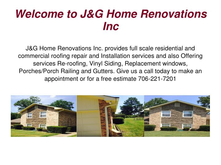 Welcome to J&G Home Renovations Inc