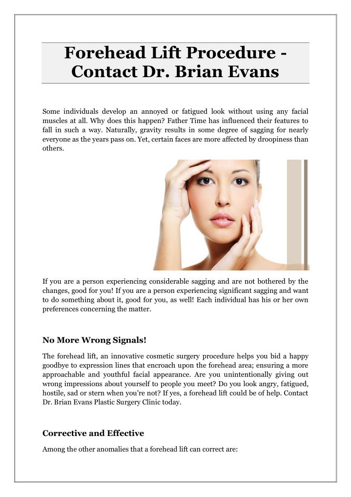Forehead Lift Procedure -
