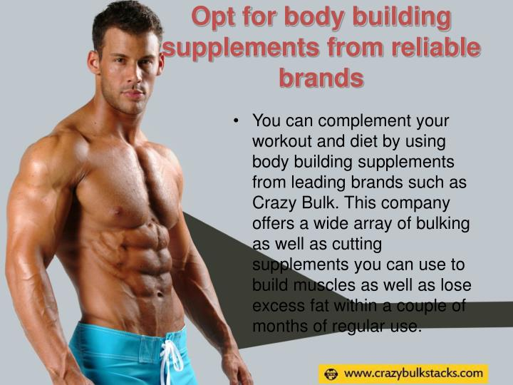 Opt for body building supplements from reliable brands