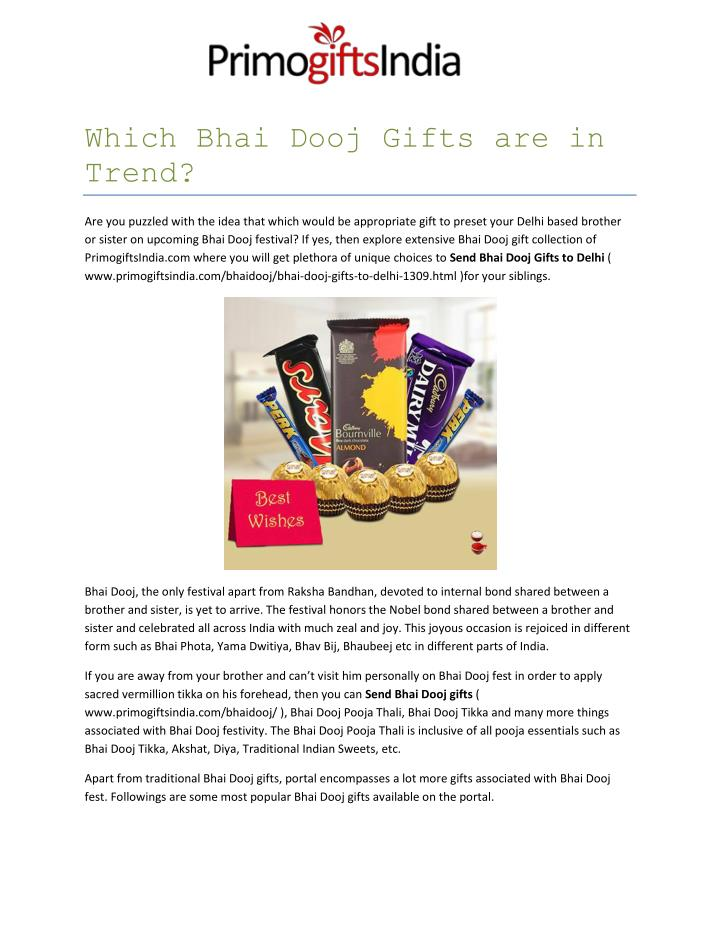 Which Bhai Dooj Gifts are in