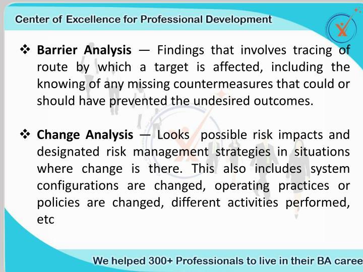 Barrier Analysis