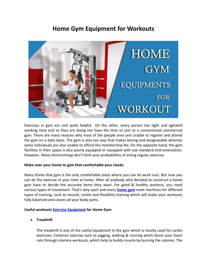 Home Gym Equipment for Workouts