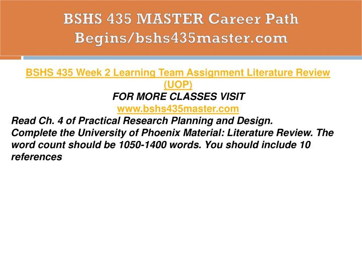 BSHS 435 MASTER Career Path Begins/bshs435master.com
