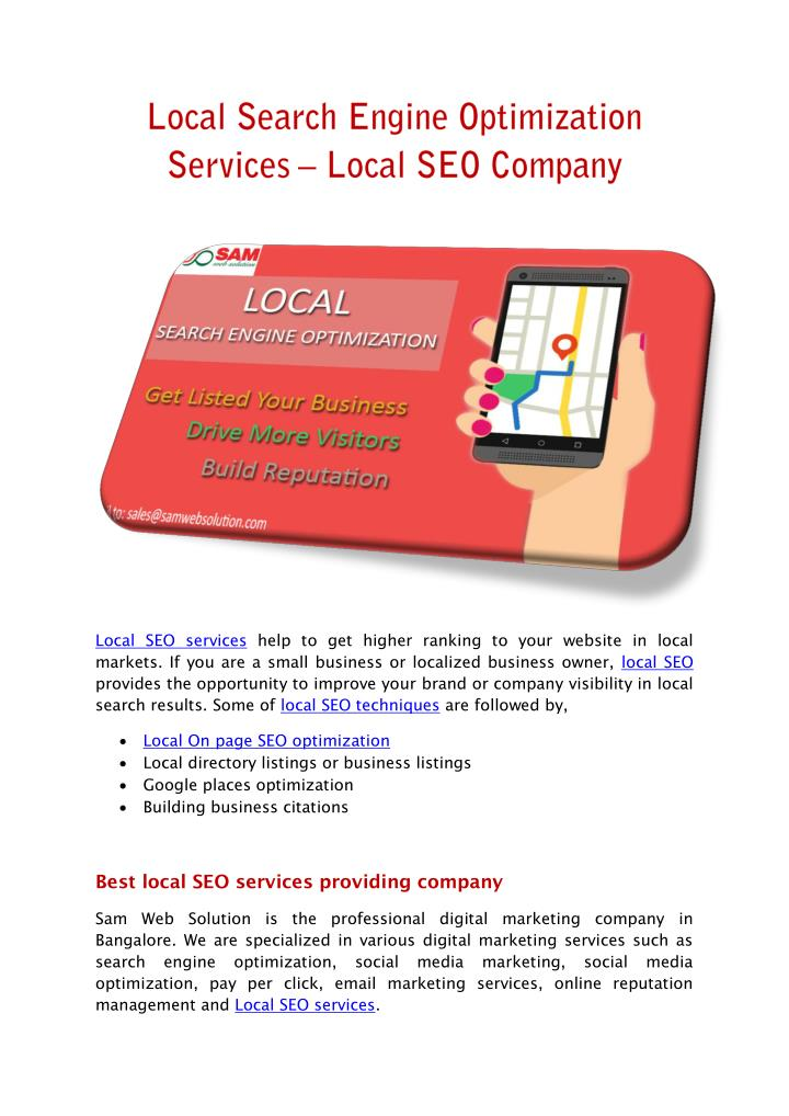Local SEO services help to get higher ranking to your website in local