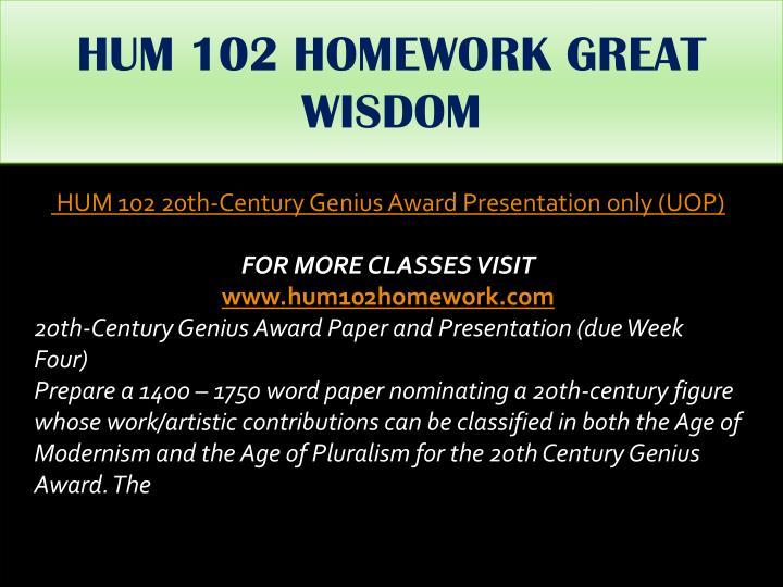 HUM 102 HOMEWORK GREAT WISDOM